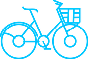 I unlock my bike by clicking on the button or scanning the QR code on the e-vélobleu.